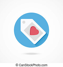 Vector Label with Heart Shape Icon