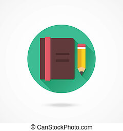 Vector Notebook and Pencil Icon
