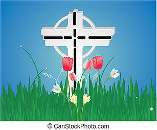 Cross and flower background - Tulips, locus, and other...