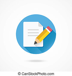 Vector Pencil and Document Icon