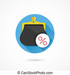 Vector Purse and Percent Sign Icon