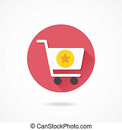 Vector Shopping Cart and Star Sign