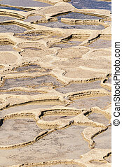 Salt pans near Qbajjar in Gozo, Malta. - Salt evaporation...