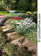 Flagstone path with spring flowers on april day
