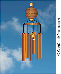 Wind chimes illustration - Wind chimes flowing in a gentle...