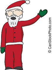 Santa Clause - Vector illustration of santa clause in red...