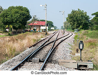 Railway station yard in the rural of Thailand
