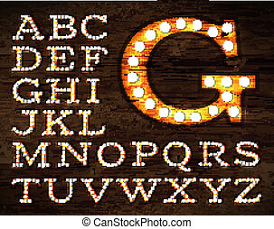 Lamp alphabet old style - Vector of letters in retro style...