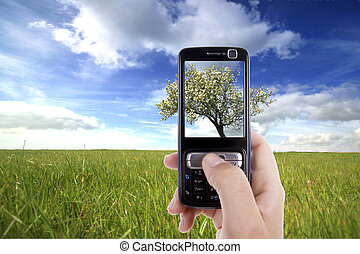 woman taking photo with mobile cell phone - landscape...