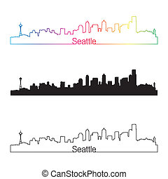 Seattle skyline linear style with rainbow in editable vector...