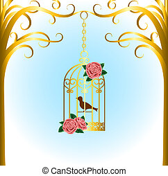 bird cage - Vintage bird cage hanging on tree branch