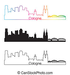 Cologne skyline linear style with rainbow in editable vector...