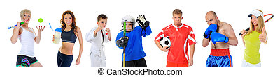 The team of great athletes from different sports isolated on...