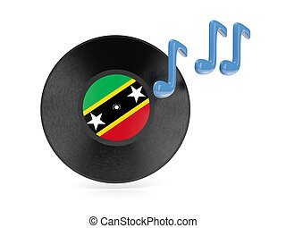 Vinyl disk with flag of saint kitts and nevis