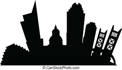 Cartoon Sacramento - Cartoon silhouette of the city of...