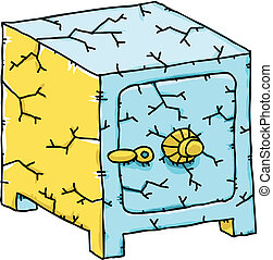 Cracking Safe - A cartoon safe, cracked and about to fail.