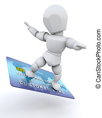 Man with credit card - 3D render of a man with a credit card