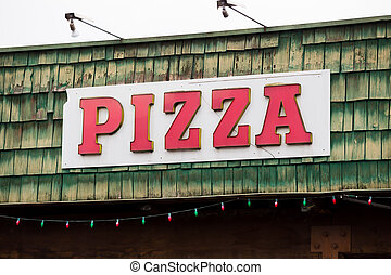 Pizza Restaurant Weathered Sign - Weathered pizza restaurant...
