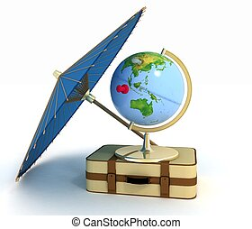3d suitcase, globe and umbrella Travel and vacation concept...
