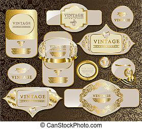 gold card set - gold white card, label, retro vintage, old...