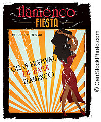 flamenco poster - Vintage spanish flamenco announcement...