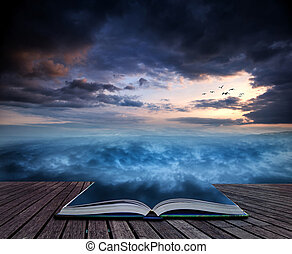 Book concept Fantasy skyscape sunset over surreal vortex...
