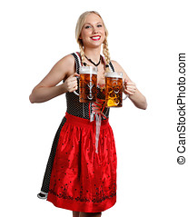 Woman in tiroler oktoberfest style - very beautiful woman in...