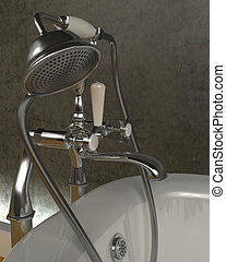 classic roll top bath and taps - 3d render of classic roll...