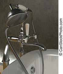 clássicas, rolo, topo, banho, torneiras