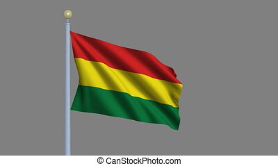 Flag of Bolivia with alpha matte - Flag of Bolivia waving in...