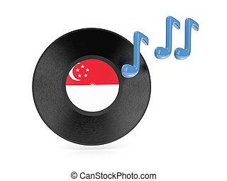 Vinyl disk with flag of singapore isolated on white