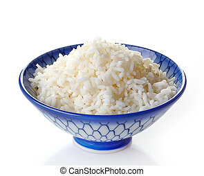 bowl of boiled rice on a white background