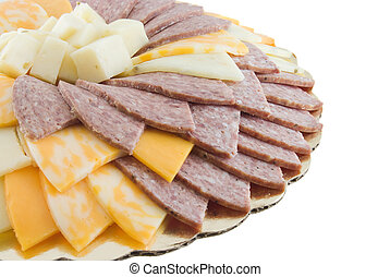 Cheese and Meat Tray - Cheese and meat tray isolated on...