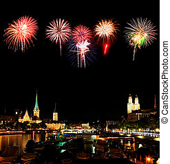 The night view of Zurich - The night view of major landmarks...