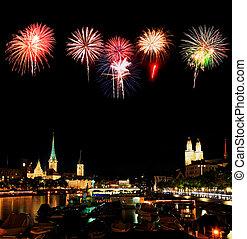 el, noche, vista, Zurich