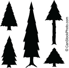 Cartoon Evergreen Trees - A set of cartoon evergreen tree...