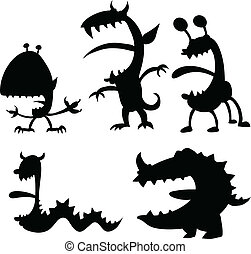 Cartoon Monsters - A set of cartoon silhouettes of monsters