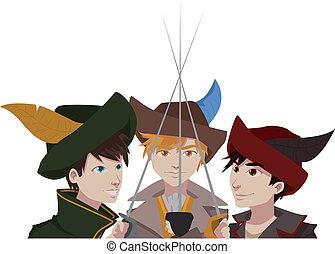 cartoon musketeers - Cartoon image of three musketeers