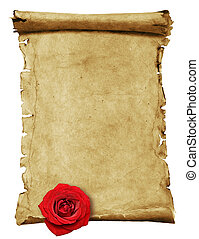 Old paper -scroll - Old paper scroll isolated on white with...