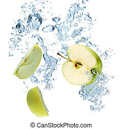 Green apple in water - Green apple under water with a trail...