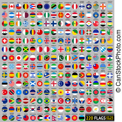 220 Flags of the world, circular shape, flat vector...