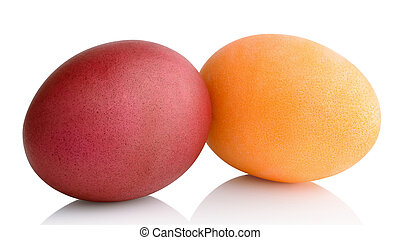 colored eggs - Easter colored eggs isolated on white...