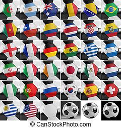 Soccer Ball Set - Soccer balls with all national flags of...