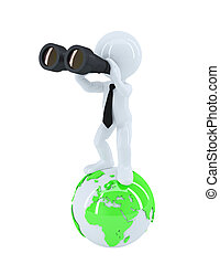 Businessman with binoculars standing on top of the globe