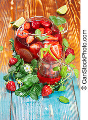 Strawberry juice - Fruit juice with fresh strawberries and...