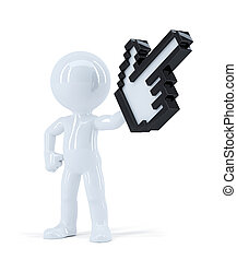 Man with pixel pointer. Isolated. Contains clipping path