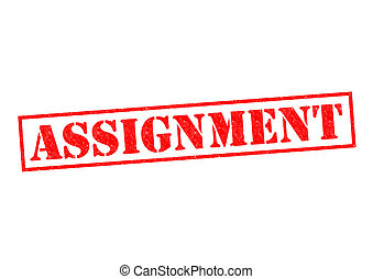 ASSIGNMENT red Rubber Stamp over a white background