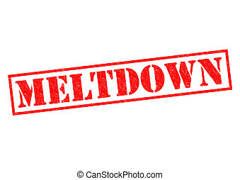 MELTDOWN red Rubber Stamp over a white background