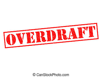 OVERDRAFT red Rubber Stamp over a white background