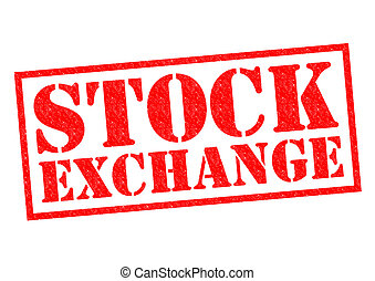 STOCK EXCHANGE red Rubber Stamp over a white background.